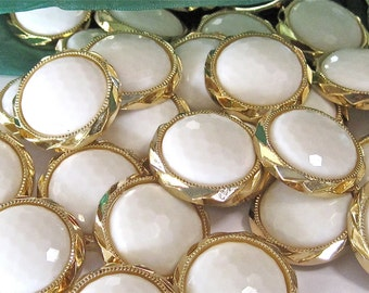 Fancy Round Pearl Gold Style  Embellishment Buttons Lot of 5