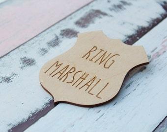 Ring Marshall Badge Ring Bearer Badge Ring Bearer Gift Ring Security Rustic Wedding Ring Bearer Barn Wedding Badge #DownInThe Boondocks