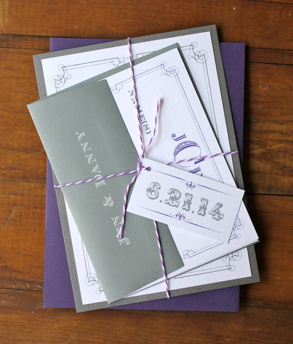 Purple And Silver Wedding Invitations: Purple And Silver Wedding Invitations Madlib RSVP Card