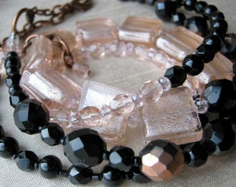 Frosted pink squares and black necklace & earrings set - ADJUSTABLE, double-strand
