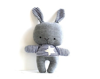Bunny softie stuffed bunny rabbit toy soft toy rag doll stuffed toy stuffed rabbit fluffy grey wool woolen navy blue 28 cm 11 inches