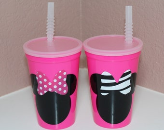 Minnie Mouse Pink Plastic Cups - Party Favors - Lot of (12)