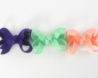 Baby Hair Bow Set - 3 Pack Extra Small Boutique Bow On Mini Snap Clip for Fine Hair Newborn to Toddler - Non Slip Peach Mint Purple mm