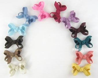 Baby Hair Bow Set - 12 Pack Small 2 Inch Hairbows Newborn Toddler MINI Snap Clips Non Slip Grip Fine Hair - Modern Muted Colors Nuetrals mm
