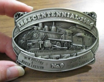 Steam Engine Centennial Belt Buckle Railroad Locomotive New Orleans North Eastern No 9. Free US Shipping