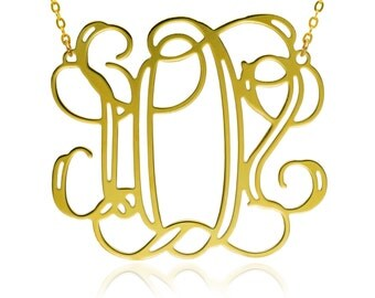 Monogram Necklace 1.25 inch- Personalized Necklace bridesmaid gift