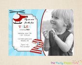 Helicopter Invitation, Helicopter Birthday Invitation, Helicopter Party Invitation, Boy Birthday Invitation, Blue and Red - PRINTED