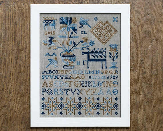The deer sampler cross stitch embroidery pattern instant