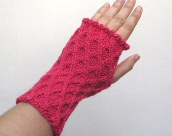 Hand Knit Fingerless Gloves in pink - one size