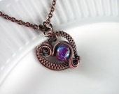 Wire Wrapped Pendant Heart Necklace Turquoise Purple Imperial Jasper Copper Jewelry Wire Wrapped Jewelry Copper Necklace Jasper Necklace