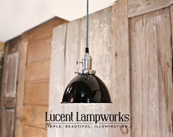 Black Dome Shade Pendant Lighting - 7 Inch