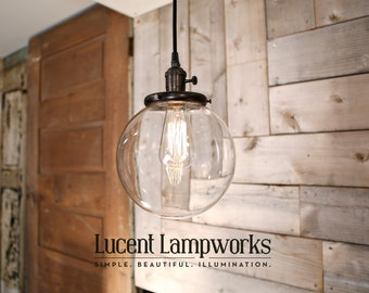 "Hanging Pendant Light Fixture with 8"" Glass Globe Shade and Exposed Socket"