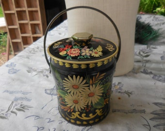 Vintage 1960s Metal Can Tin Embossed Flower Design Murray-Allen Handle Black White Daisies Gold Tone Lid England Imported Confections