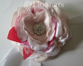 Fabric flower corsage in white blush, Bridal corsage in blush pink, Flower girl corsage, Pink Wedding corsage, PInk and coral, Wrist corsage