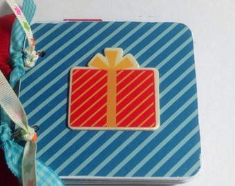 Birthday scrapbook Premade pages chipboard mini album scrapbook- 4x4 cupcake