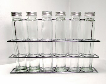 For Storage or Display: Glass Bottles in Rack