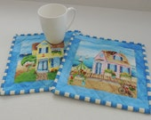 Beach Cottage Mug Rugs-reversible-Free Shipping to US and Canada