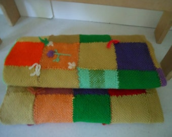 Small Blanket Hand Woven Squares Embroidery Vintage