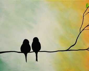 Abstract Birds Giclee, Birds print, colorful print, art print, abstract orange print, love birds print,print on canvas, gold green art