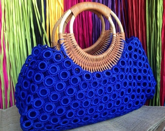 Beautiful Boho Blue Crochet Bag With Nylon Lining , Top zipper, Inside Pocket And Rattan Loop Handles