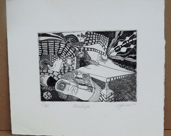 """Mid Century Black and White Etching by California artist R. Lin Johnson titled """"Avidya"""""""