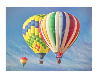 Hot Air Balloon Photography. Hot Air Balloons in Sky. Colorful Nursery Art. Children's Room Decor. Yellow Blue Red Orange. Whimsical. Summer