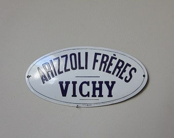 Antique French Enamel Convex sign Blue and White Sign