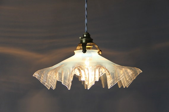 Stunning French Antique Translucent Glass Ceiling Light Opal White