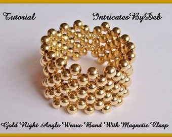 Digital Download Tutorial for Beaded Right Angle Weave Magnetic Bracelet in Gold - Jewelry Beading Pattern, Beadweaving Instructions, DIY
