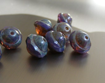 SULTRY . (8) Czech Glass Bead . 8x10mm - Faceted Saucer (bk0201)
