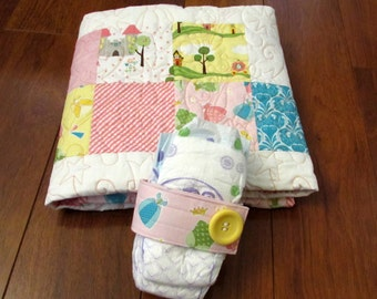 """40% SALE Riley Blake Happy Ever After Baby Girl Princess Quilt with Pink, Blue, Yellow, Orange--39"""" x 47"""" with matching diaper Strap"""