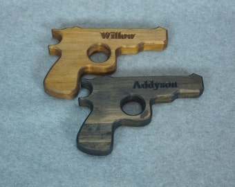 Engraved Wooden Toy Pistol