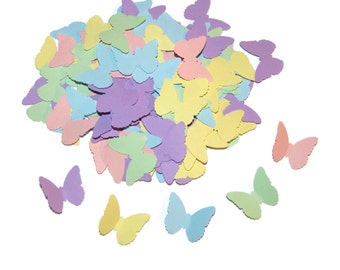 100 Pastel Butterflies in Green, Pink, Yellow, Blue, Green and Lilac-Punch Cut Embellishments,  Confetti, Weddings Scrapbooking