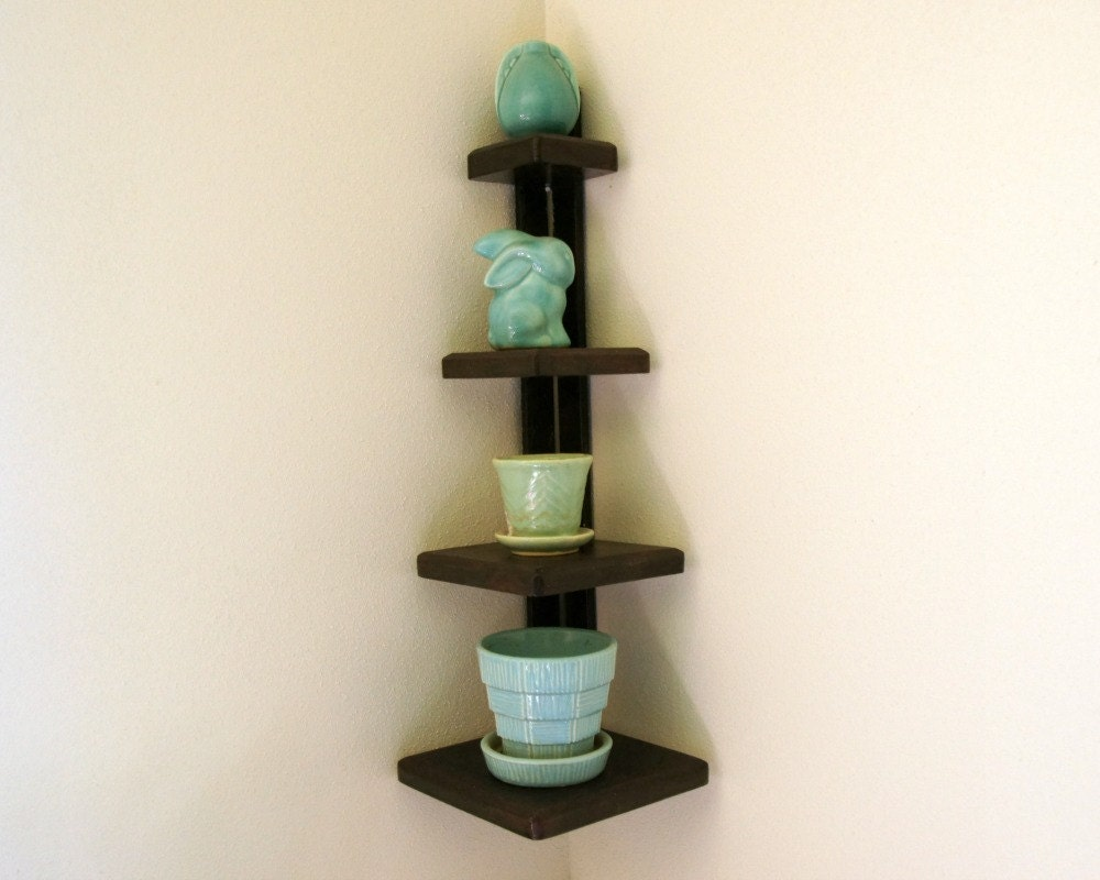Wooden corner shelf tiered wood shelving small wall