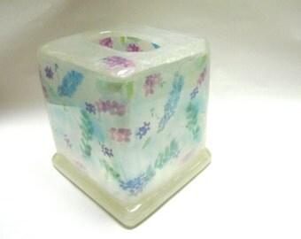 Flower Tissue Cover Frosty White Clear Kleenex Box Holder