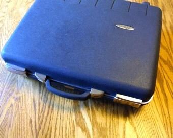 Charcoal Gray Briefcase Key Locking Vintage Suitcase