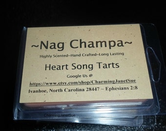 6x NAG CHAMPA Candle MELTS Packages Mod Highly Scented Hippie Heart Song Tarts Wax 1970s Incense Fragrance
