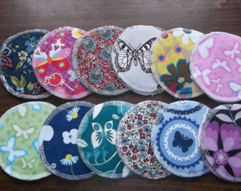 Nursing pads 12 sets Flowers & Butterfly patterns  (24 total) made with 4 layers 100% cotton flannel