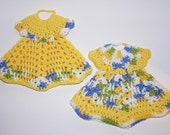 SALE 40% OFF - Crocheted Doll Dress Potholder Pot Holder- Variegated Blue Green Yellow White - Ready To Ship