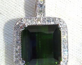 14.17ct GIA Vivid Lush Forest Green Tourmaline Diamonds Halo Pendant
