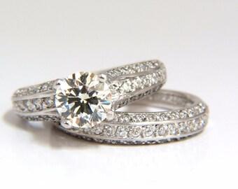 GIA VERRAGIO 1.18ct & 1.40ct Diamonds (2) Rings Engagement Ring and Band Platinum