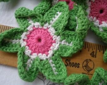 Crochet Flower Motif Applique Pink Green White 9 pieces embellishment Craft Accent scrapbooking sewing embellish hat scarf shirt