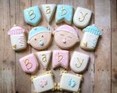 Baby Cookies - Baby Bottle Baby Face Baby Footprint Baby Banner Decorated Cookies (1 Dozen)