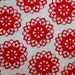 1 YD * RED and WHITE Flower Garden * Red Flowers  * Floral * Mod * Folk * Red * Flower Power