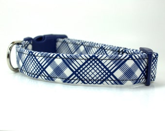 Blue Plaid Dog Collar | Style: Symphony Blue and Cream Plaid Dog Collar | Wedding Dog Collar | Boy Dog Collar