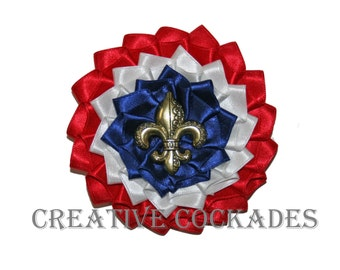 Reserved for Sandra - Fleur de Lis Tri-Color Cockade