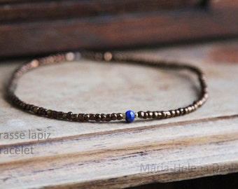 brasse lapiz bracelet for men - warm and light, a touch of glam with antique and lapiz blue bracelet from Maria-Helena Design