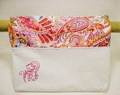 Walker Bag In Cream Twill and Pink Paisley Fabric with Embroidery