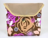Bicycle Handlebar Bag in Taupe and Pink Floral with Vinyl Flap