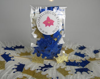 Crown Confetti Gold & Royal Blue Glitter/ Royal Prince Party Decoration / Graduation / Little Prince Party / Baby Shower/ Confetti / 100 ct